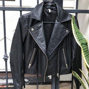 TOPSHOP black Leather Biker Jacket Size 4